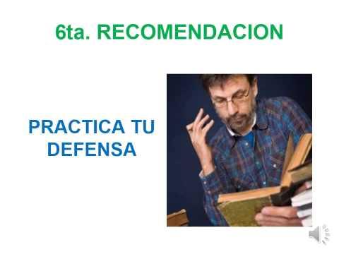 RECOMENDACIONES PARA DEFENDER EL TFM