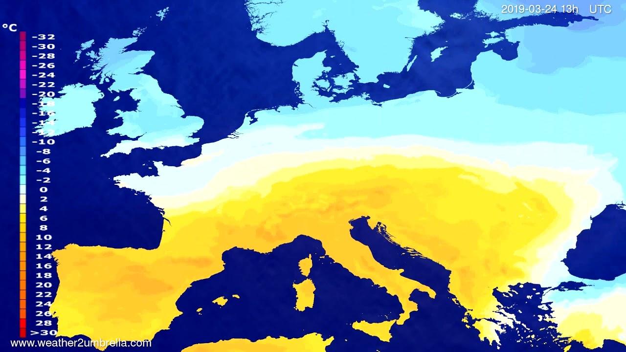 Temperature forecast Europe 2019-03-24