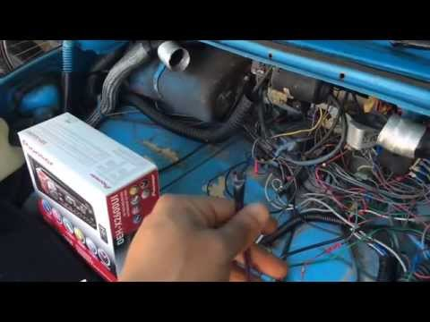Stereo installation, wiring connection on a 1970 VW Beetle.