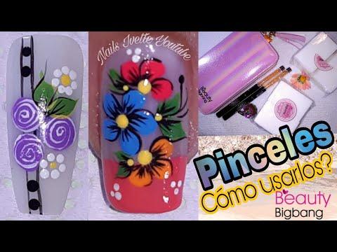 Decoracion de uñas - Decoración de uñas flores y rosas usando pinceles de BEAUTY BIGBANG/Organizador de placas y más