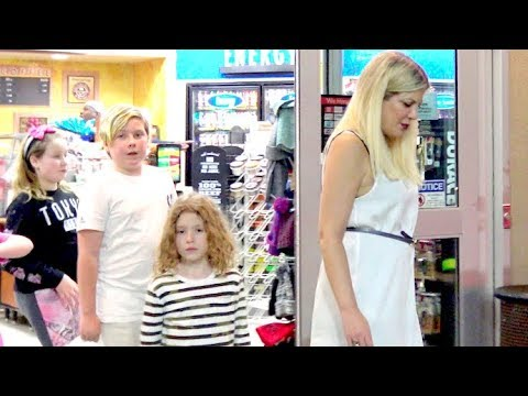 Tori Spelling And Fam Hit The Gas Station To Stock Up On Junk Food! - EXCLUSIVE