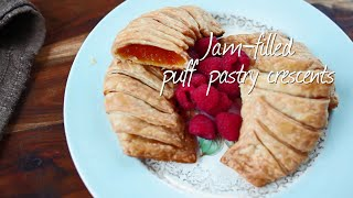 Jam-filled puff pastry crescents