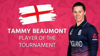 Not only is Tammy Beaumont a world champion, but she has been named Player of the Tournament after accumulating 410 runs; more than anyone else at #WWC17. Congratulations! 🙌🏆