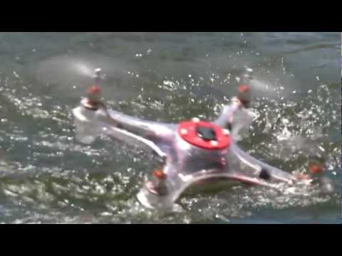 Here is one of our prototype quadcopters splashing around in the water