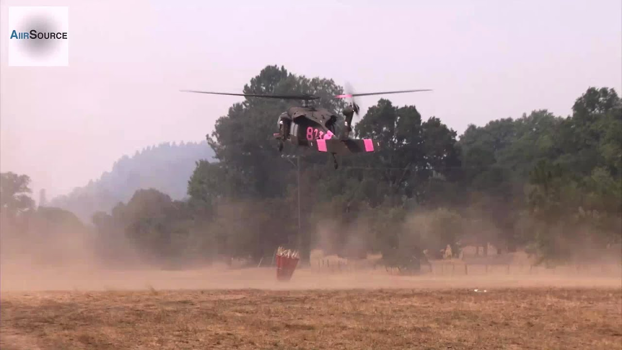 National Guard UH-60 Blackhawk Bambi Bucket Water Drop – Lodge Complex Fire 2014