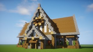 Minecraft Tutorial: Big Survival House -  How to make a big house - Medieval library