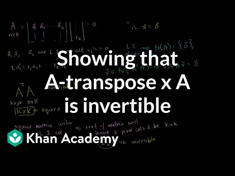 Lin Alg: Showing that A-transpose x A is invertible