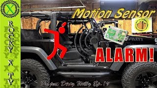 """Patreon - https://www.patreon.com/rockyxtvFacebook - https://www.facebook.com/rockyxtv/In this episode I show you how to add a proximity or """"motion"""" sensor to your Jeep JK factory alarm system. This video if pretty long and drawn out, but it gives you all of the info you will need to do this on your own. There are links to all of the parts used in this video, I hope you enjoy! - Sensor -  https://www.amazon.com/gp/product/B0009VFOME/ref=oh_aui_detailpage_o06_s00?ie=UTF8&psc=1- Micro Switch - https://www.amazon.com/gp/product/B0002ZPBMK/ref=oh_aui_detailpage_o06_s01?ie=UTF8&psc=1- Relay -https://www.amazon.com/Absolute-RLS125-12-VCD-Automotive-Relay/dp/B0002KR9GG/ref=pd_sbs_263_8?_encoding=UTF8&pd_rd_i=B0002KR9GG&pd_rd_r=PK8RC2J2CBKBWQT2KNHV&pd_rd_w=g92hg&pd_rd_wg=dIFra&psc=1&refRID=PK8RC2J2CBKBWQT2KNHVT-taps -https://www.amazon.com/Hilitchi-Insulated-Male-Electrical-Assortment-22-18A-W-G/dp/B01CCSYBGG/ref=pd_sim_107_93?_encoding=UTF8&pd_rd_i=B01CCSYBGG&pd_rd_r=8EDEF4QY8M602B7W1EQ5&pd_rd_w=onP4t&pd_rd_wg=M9lnn&psc=1&refRID=8EDEF4QY8M602B7W1EQ5Camera - Sony FDR-AX33 4K HandyCamMicrophone - Saramonic SR-WM4C Wireless Microphone SystemMixer - Saramonic SR-AX100 Audio MixerTripod - Ravelli AVTP Pro Video Tripod with Fluid Drag HeadLighting - LimoStudioEditing - Adobe Premiere ProProject Dirty Willy - 2015 Jeep Wrangler Willys Wheeler W---Mailing Address---Rocky X TVP.O. Box 1437Grove City, OH 43123-1437"""