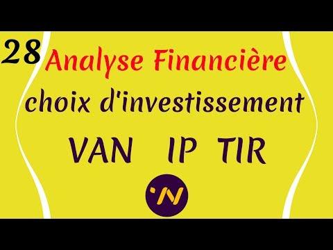 28_ Analyse financière valeur actuelle nette VAN indice de profitabilité taux interne de rentabilité