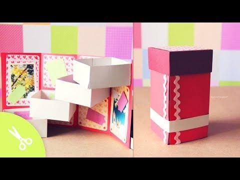 Caja con cajones: Guarda regalo - Dia de los enamorados // Origami box Tower