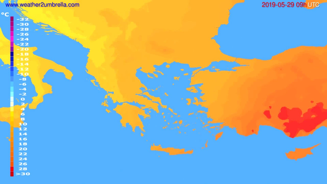 Temperature forecast Greece // modelrun: 12h UTC 2019-05-27