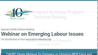 CAHRC Special Partner Briefing - Emerging Labour Issues (SEPT 2017)