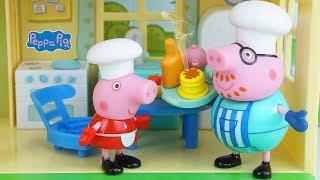 Peppa Pig português - PEPPA PIG EM PORTUGUES Preparando o Café da Manhã da Mamãe com Ajuda do Papai Pig