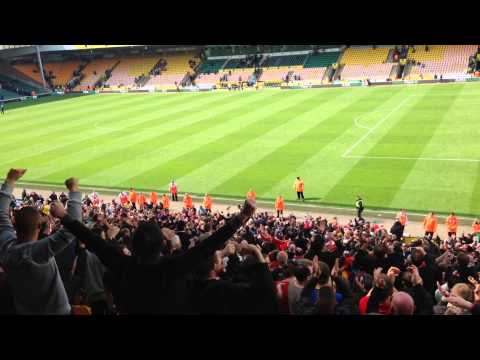 Away End After Fulltime -  Norwich V Liverpool - April 2014