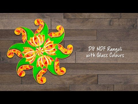 DIY MDF Rangoli with Glass Colours