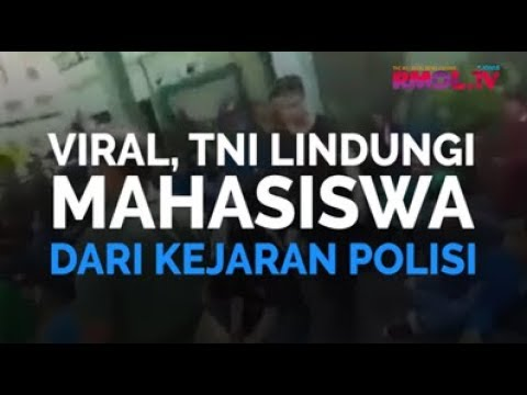 Viral, TNI Lindungi Mahasiswa Dari Kejaran Polisi