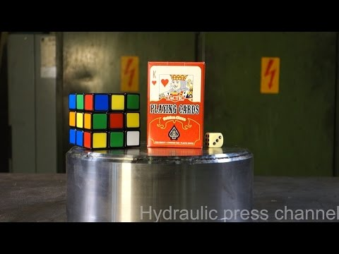 """Crushing Rubik's cube & playing cards with hydraulic press"""