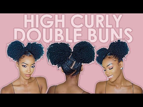 Curly hairstyles - HUGE CURLY DOUBLE BUNS: Protective Hairstyle  Slim Reshae