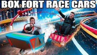 BOX FORT RACE CARS RACE!! 📦🚗 Power Ups, Gadgets & More!