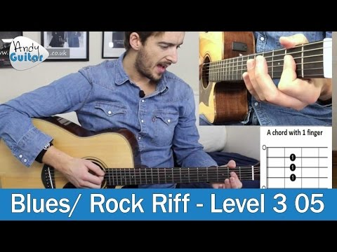 EASY Blues Riff for Beginner Guitar (Level 3 05) Beginner Blues Guitar Tutorial