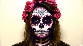 BLOOD RED CATRINA SUGAR SKULL Tutorial - YouTube