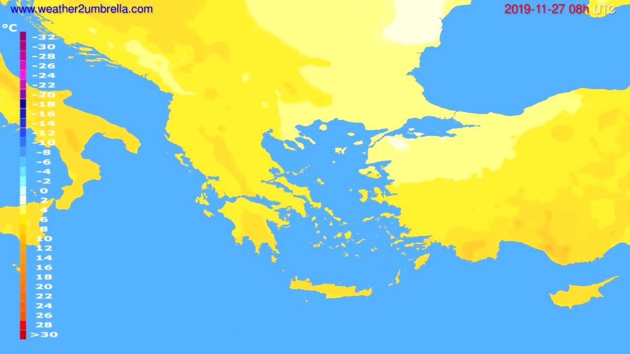 Temperature forecast Greece // modelrun: 00h UTC 2019-11-26