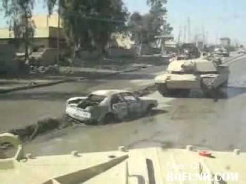M1 Abrams Tank drives over car bomb