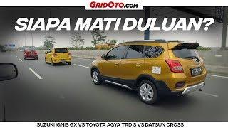 Download Video GridOto Challenge: Adu Irit BBM Rp 100 ribu Datsun Cross VS Toyota Agya VS Suzuki Ignis MP3 3GP MP4