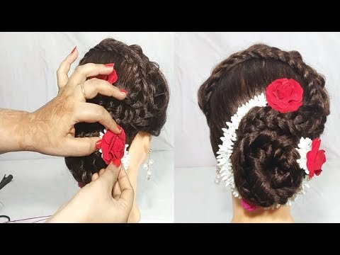 Easy hairstyles - latest Gajra Hairstyle For Wedding  Simple Juda Hairstyle   Cute hairstyle  Hair Style Girl