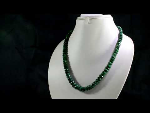 Natural Emerald 345ct Big Size Faceted Beads Gemstone Stings Necklace on ebay