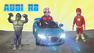 Audi R8 Superhero Build - Hulk, Ant-Man & Flash! Ride-a-Long with Dylan and Jagger!