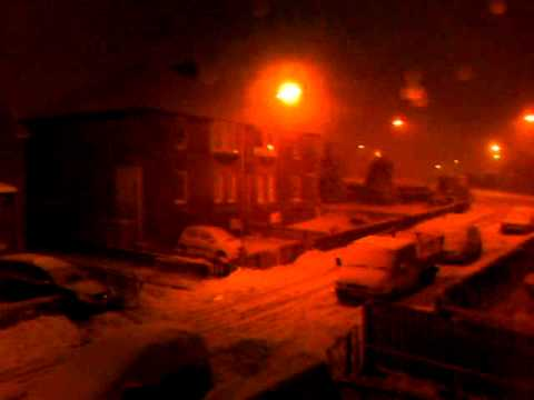 Snow at night in Airdrie.AVI