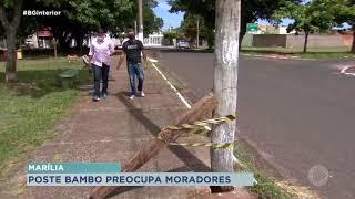 Poste em péssimas condições preocupa moradores de Marília