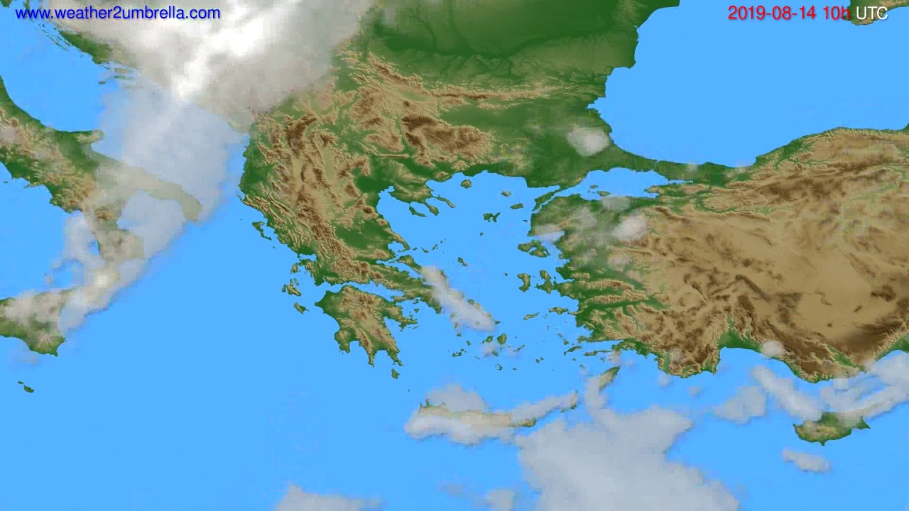 Cloud forecast Greece // modelrun: 12h UTC 2019-08-11