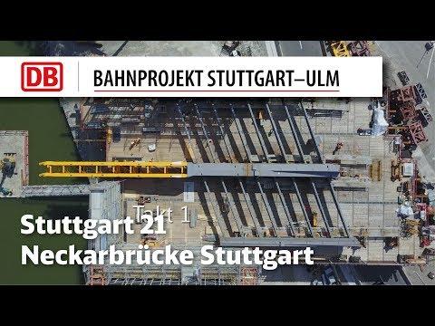 Erster Taktschub Neckarbrücke Bad Cannstatt