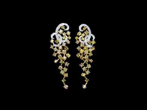 Lady's 18k White/Yellow Gold Diamond Earrings