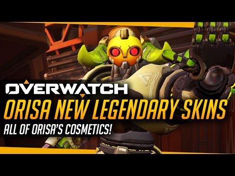 Overwatch | ORISA NEW HERO LEGENDARY SKINS - Intros And Emotes (All Cosmetics)
