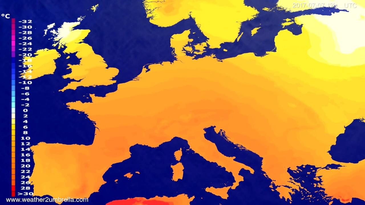 Temperature forecast Europe 2017-07-05