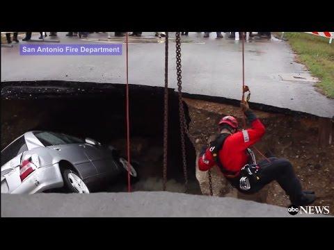 العرب اليوم - شاهد: حفرة غريبة تبتلع السيارات وتقتل شرطية أميركية