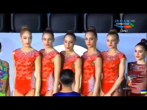 The Bulgarian anthem played at the Rhythmic Gymnastics World Cup in Baku.