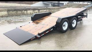 4. Sure Trac 7x18' Gravity Tilt Lowboy Equipment Trailer 14000# GVW ST8218FWTE-B-140