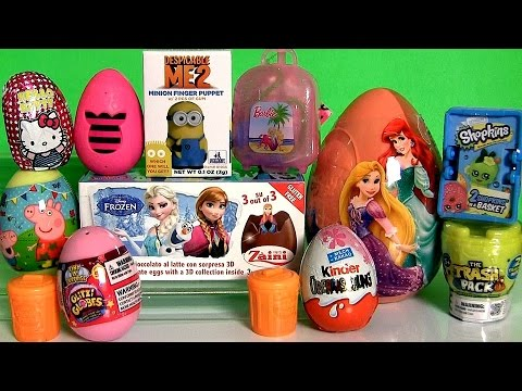 NEW Surprise Eggs PeppaPig Monster-High DisneyFrozen Giant Princess Shopkins Surprise Basket  ハローキティ