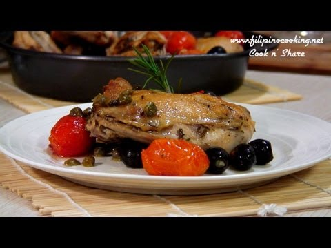 Mediterranean Recipe: Greek Seared and Baked Chicken with Tomatoes, Olives and Capers