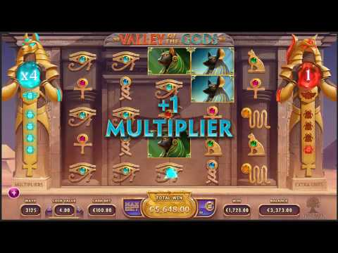 EPIC MEGA WIN On Valley of the Gods Slot Machine From Yggdrasil Gaming