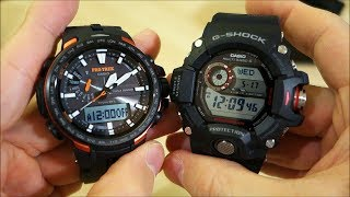"Unboxing of these new arrivals into the collection - a ""Master Of G"" and a Pro Trek, both triple-sensor watches featuring a bucket load of features!Like on Facebook: https://www.facebook.com/PerthWAtchYouTube/#casio #gshock #protrekCasio models featured:Protrek PRW-6100Y-1 (module 5470) - http://www.casio-intl.com/asia/en/wat/watch_detail/PRW-6100Y-1/G-Shock Rangeman GW-9400-1 (module 3410) - http://products.g-shock.com/asia-mea/en/_detail/GW-9400-1/===========Perth WAtch - Sharing my passion for horology and watches. Enjoy the videos on watch reviews, general thoughts & discussions, side-by-side comparisons, horology topics, and more!Watch Reviews Playlist: https://www.youtube.com/watch?v=h8DySE9bYGU&list=PL1qbhxREC4LQGhBi-ErvsxVz3Kc5P4FOxWatch Topics & Discussions: https://www.youtube.com/watch?v=u3IWov7lrrk&list=PL1qbhxREC4LT9JMopfMG2-wu6rFhsJCIuSubscribe: https://www.youtube.com/channel/UCjBOEG8LoZOV0qOO7TdlHlA?sub_confirmation=1===========Music:""Shiny Tech"" & ""ZigZag"" Kevin MacLeod (incompetech.com)Licensed under Creative Commons: By Attribution 3.0 Licensehttp://creativecommons.org/licenses/by/3.0/"