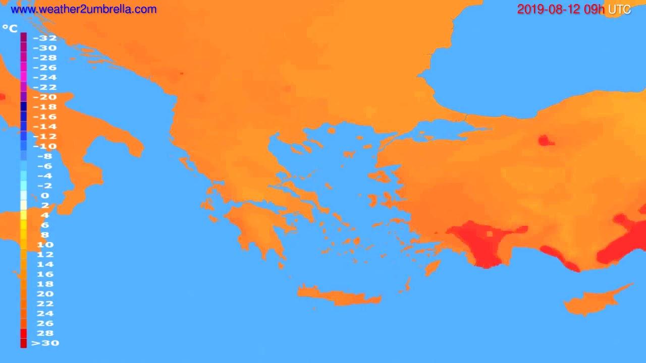 Temperature forecast Greece // modelrun: 12h UTC 2019-08-10