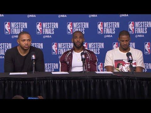 CP3, Eric Gordon & Ariza Postgame Interview - Game 2   Warriors vs Rockets   2018 NBA West Finals
