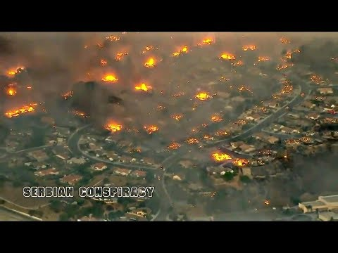 View from Air-🔥Burning, Ventura County Fire-Los Angeles,Southern California Dec.2017 ;Stunning