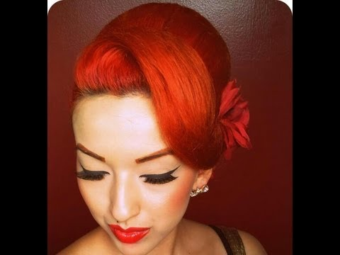 vintage hair - LIKE me on FACEBOOK: https://www.facebook.com/PinupDollAshleyMarieRosas I made this tutorial after many requests when I wore it on Christmas Eve. Vintage Hai...