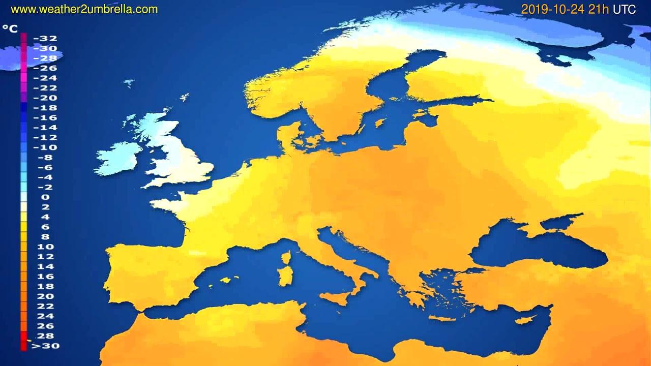 Temperature forecast Europe // modelrun: 12h UTC 2019-10-22